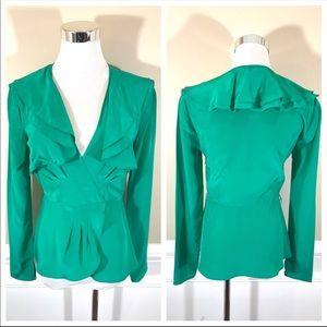 100% pure silk emerald green top shirt